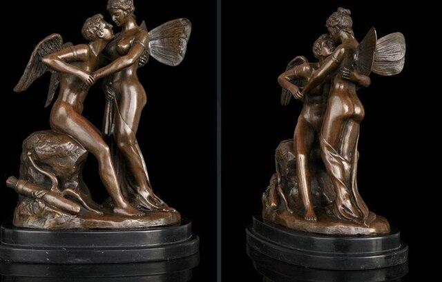 Bronzen Engelen Beelden.Us 1905 4 Zm Art Deco Sculptuur Romantische Minnaar Engelen Naakt Vrouw En Man Brons Standbeeld Ondertekend In Zm Art Deco Sculptuur Romantische