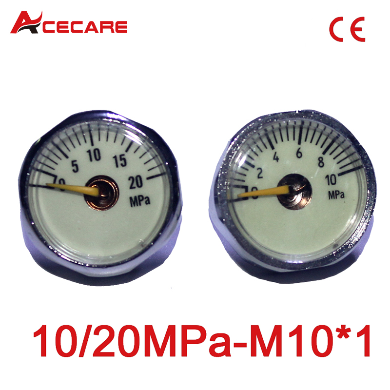 Paintball Airsoft PCP AirGun Mini 25mm 10MPa/20MPa Manometer With Luminous Night M10*1 Gauge
