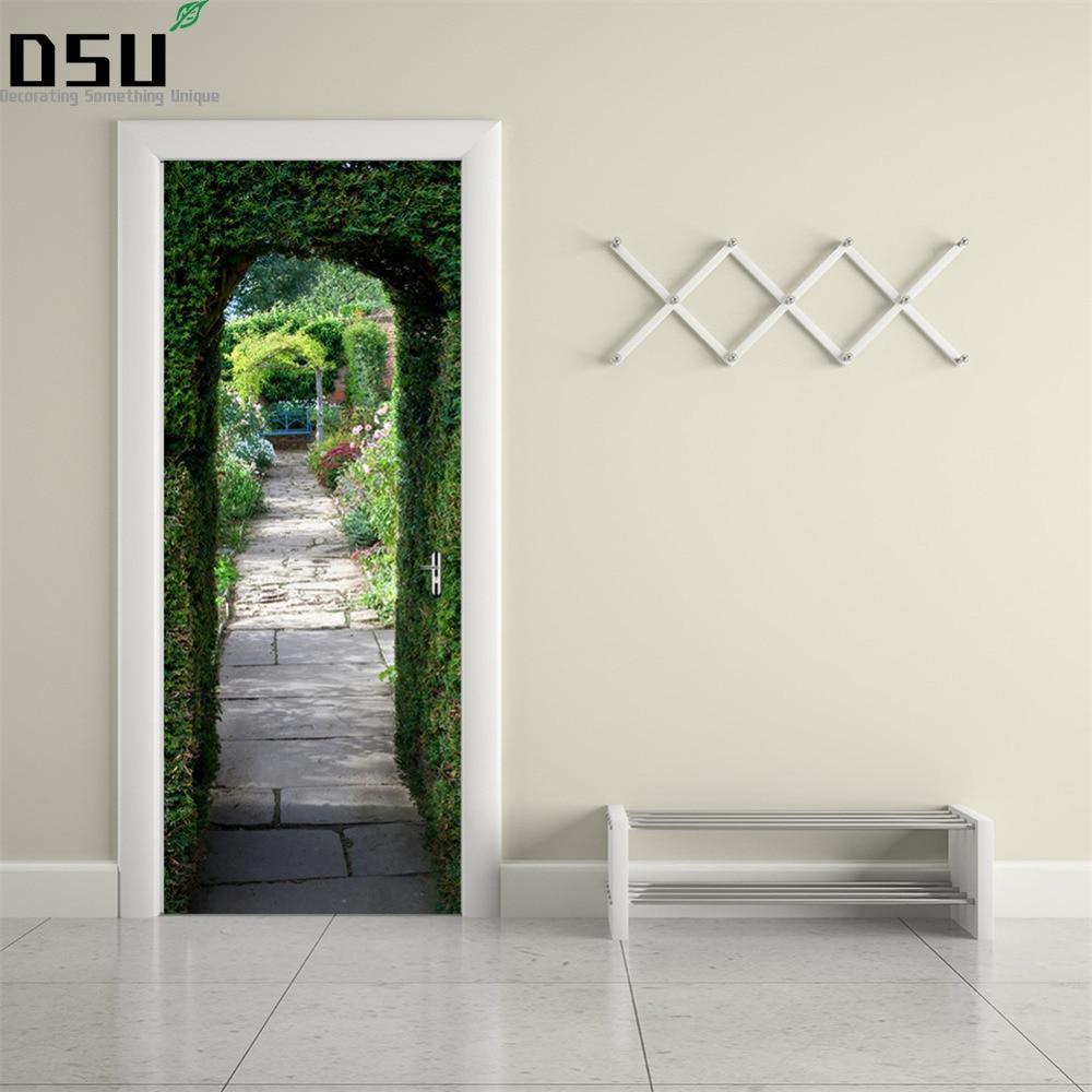 Inspirierend Muster Wand Dekoration Von 3d Diy Grüne Pflanze Tür Aufkleber Wandbild