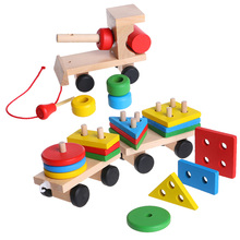 New Kids Developmental Toys Wooden Train Truck Geometric Blocks Baby Educational Toy Hot Gift