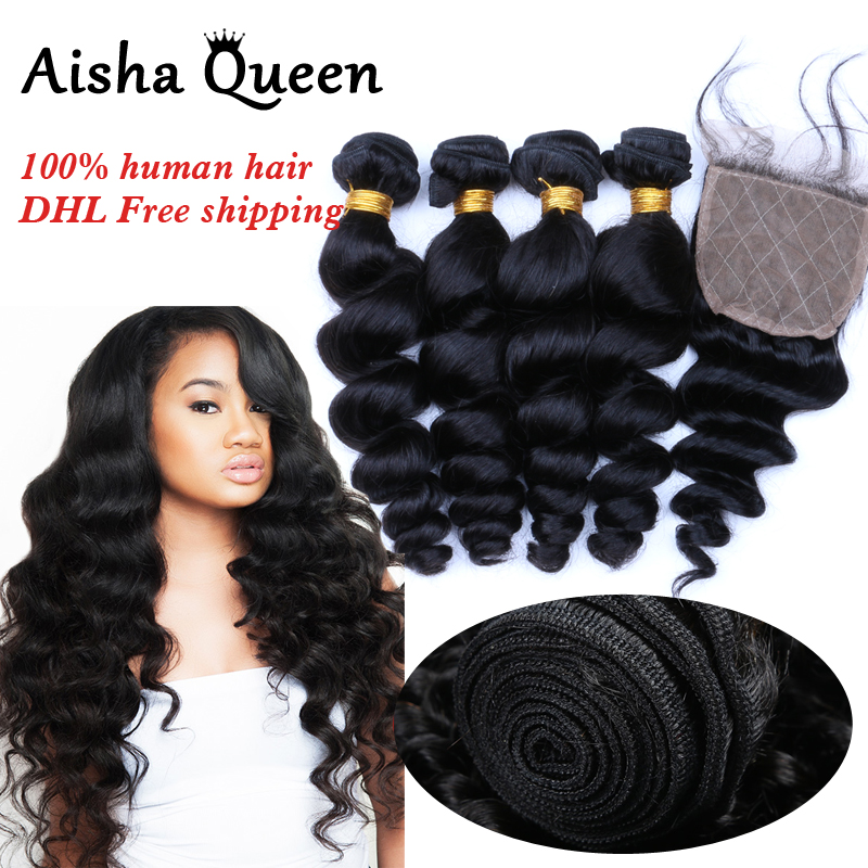 Aisha Queen Loose Wave Brazilian Human Hair 4 Bundles with 1 Silk Closure 4x4 Natural Black Remy Hair ...