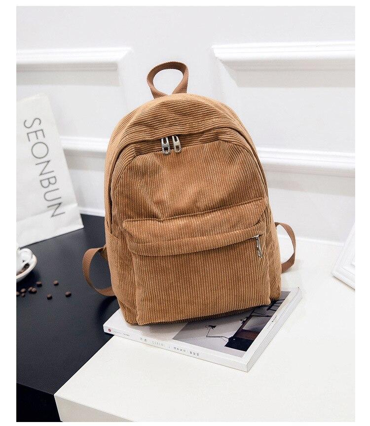 HTB1KSTbd21H3KVjSZFHq6zKppXaM 2019 New Corduroy Women Backpack Pure Color Women Travel Bag Fashion Double Backpack Female Mochila Bagpack Pack Design