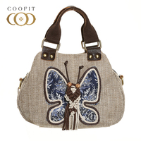 Coofit Womens Vintage Handbag Elegant Butterfly Pattern Handmade Design Top Handle Bag Satchel Purse Tote Shoulder Crossbody Bag