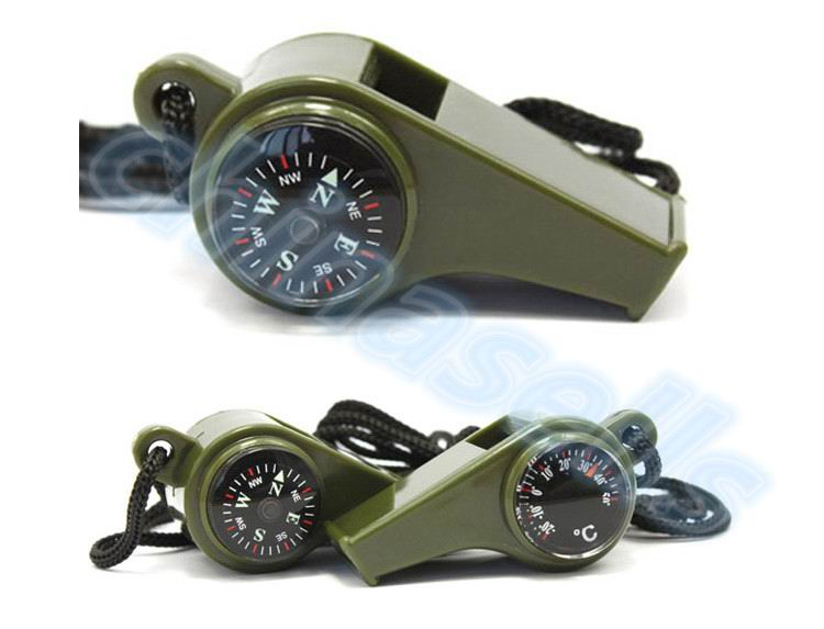 50pcs 3 in1 Camping Hiking Emergency Survival Gear Whistle Compass Thermometer Outdoor Need ArmyGreen Color with rope