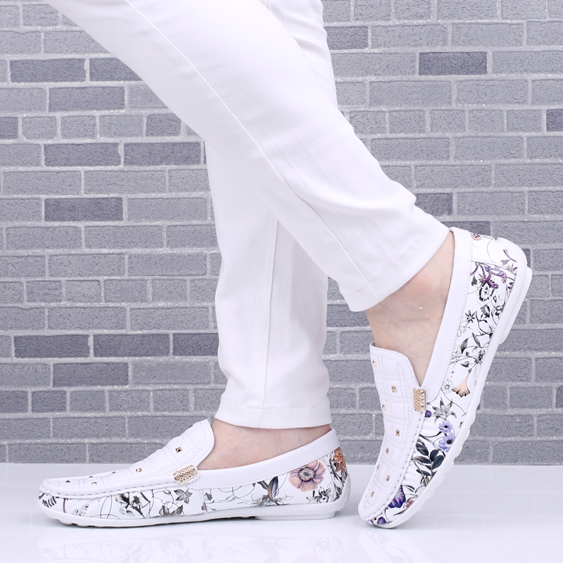 ФОТО 2016 new Summer doug shoes men leather shoes men lazy shoes breathable printing genuine loafers flats