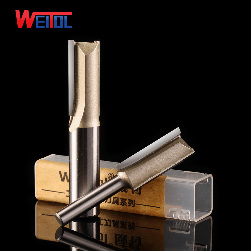 Weitol 1pcs 1/2 or 1/4 inch two / double flutes straight bit carbide router bit CNC wood tools for CNC engraving machine