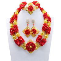 2017 Newest Red Handwork African Wedding Jewelry Set African Crystal Beads Necklace Set Nigerian Beads Gold