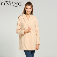 cef972d4ed1ca6 Meaneor Brand Woolen Coat medium long Gown Style New Women Casual Single  Button Long Sleeve Solid