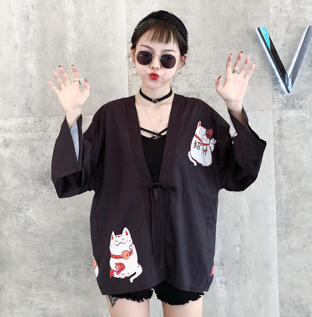 Kpop Ulzzang Cute Fashion Women's Kimono Summer Japanese Harajuku Street Shirts Vintage Kawaii Cat Blouses Female Cardigan Tops 2