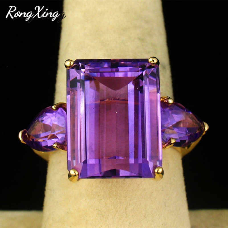 RongXing Gorgeous Big Stone Square Purple Birthstone Rings For Women Yellow Gold Filled AAA Water Drop Zircon Finger Ring Gifts