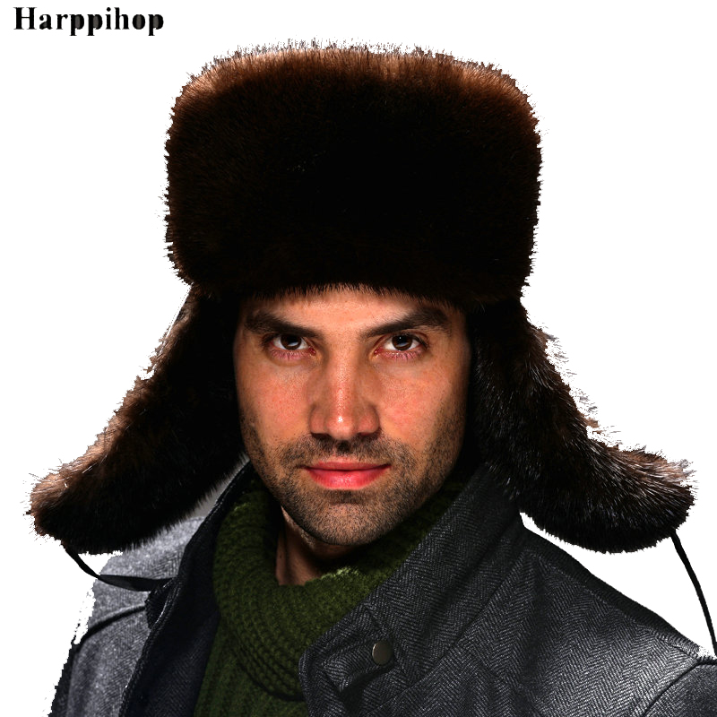 2019 vison chapeau vintage mode en cuir véritable paille chapeau mâle lei feng cap hiver vison cheveux