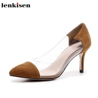 7a7d7eabe Lenkisen Kid Suede Pointed Toe Transparent Joining Toge Shoes Slingbacks  Simple European Style Slip On Office