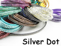 5pcs 5mmx1.5mm Flat Faux Suede Velvet Leather Cord with Double Silver Metal Dot -1M/pcs