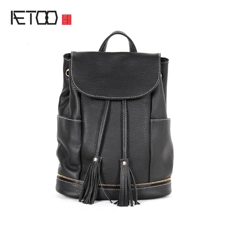 AETOO Summer original drawstring bucket shoulder bag female personality street tide leather tassel medium Korean version of leat zipit сумка medium shoulder bag
