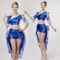 Cinese antico Costume Tamburo Acqua Costumi Femminili 2017 Nuova Donna Lucido Smoking Fase Strumento Giocare Danza Moderna Vestiti di Jazz