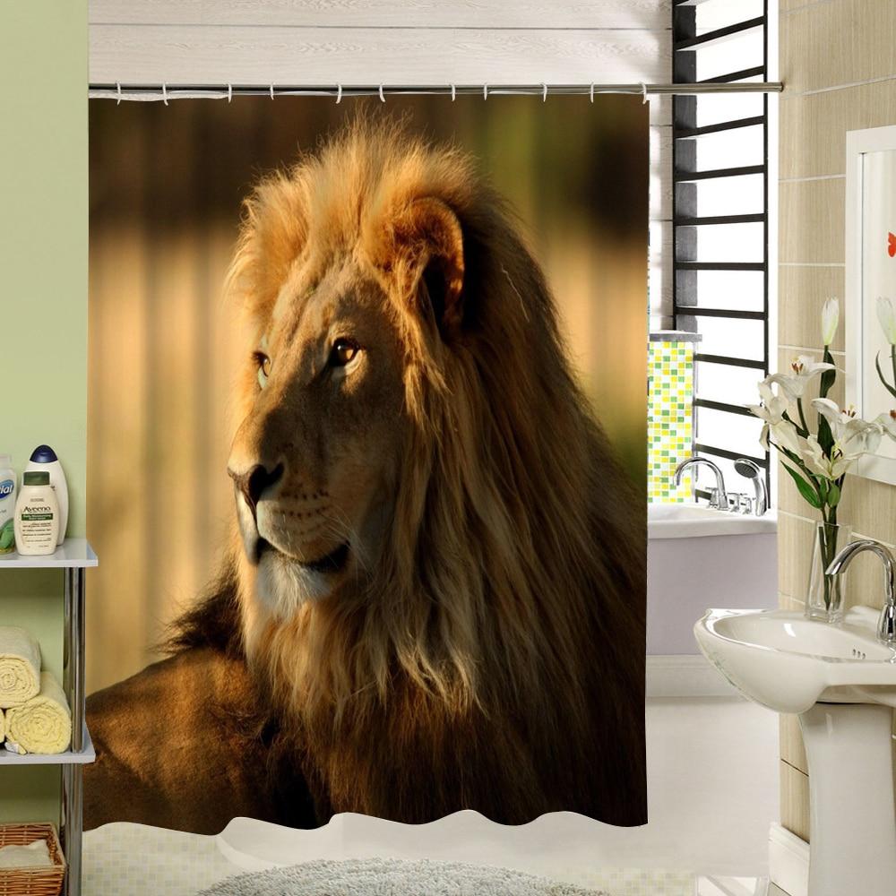 Cool shower curtain 3d animal tiger print fabric washable cloth liner cartoom pattern for kids bathroom curtain set decoration