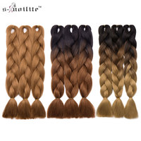 Snoilite 24inch 3Pcs Lot Ombre Kanekalon Jumbo Synthetic Braiding Hair Crochet Blonde Hair Extensions Jumbo Braids