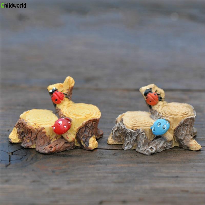 DIY Miniature Garden Decoration Figurines Ladybug Mushroom Stump Decorative Modern Resin Sculptures Home Decoration Accessories in Figurines Miniatures from Home Garden