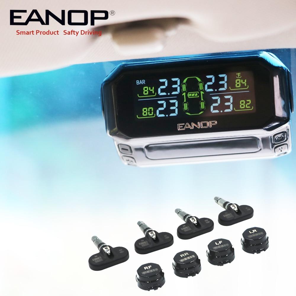 EANOP S600 Solaire TPMS système de surveillance de Pression des Pneus pare-brise de voiture Sans Fil de Pression des Pneus Alarme Externe/capteur interne
