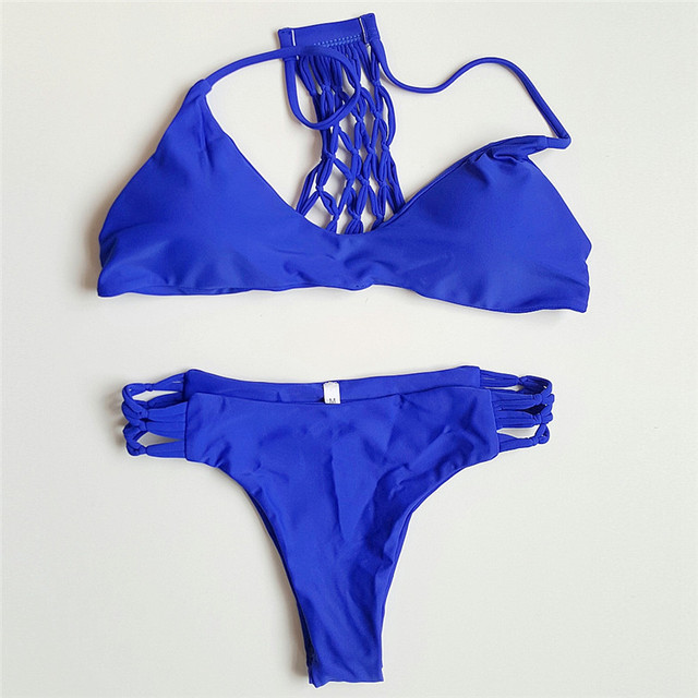 Hand-made Knitted Bikini Net Yarn Swimsuit Royal Blue Bikini Set Sexy Female Bathing Swimwear Women Beach Swimsuit