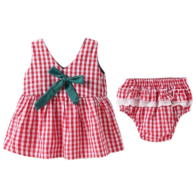 Bowknot Dress Underpant Clothse Girls Baby Children Summer Cute Lace Sleeveless PP 2pcs/Set