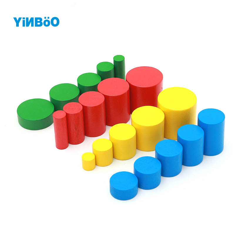 Montessori Educational Wooden font b Toys b font For Children Cylinders Montessori Wooden 4 Sets of