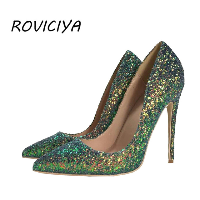 61206f47c2 US $32.83 51% OFF|Green Glitter bling bling wedding shoes 12 cm high heel  pumps sexy stiletto heels party shoes for women LF004 ROVICIYA-in Women's  ...