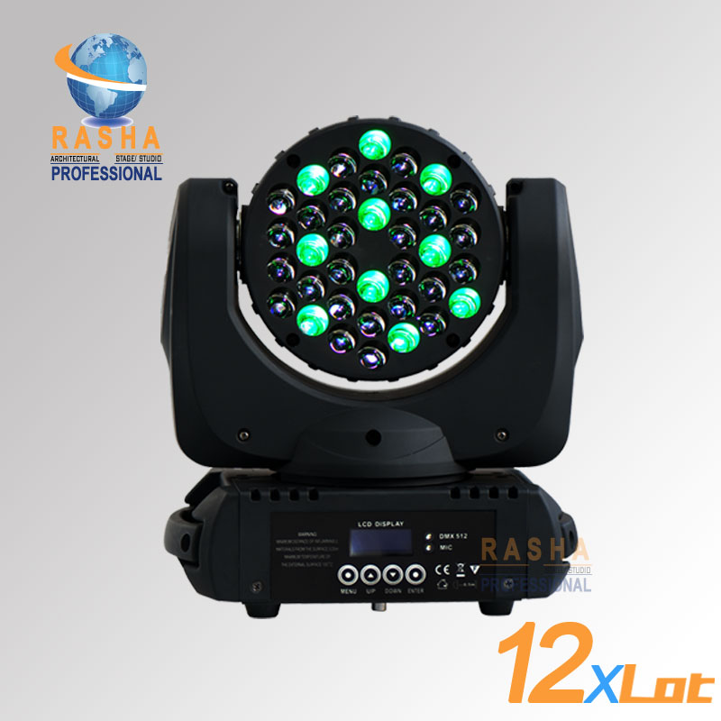 12pcs/LOT High Quality 36pcs*3W Stage Light 4in1 RGBW LED Moving Head Beam,Moving Head Light With LCD Display,POWERCON 110-240V
