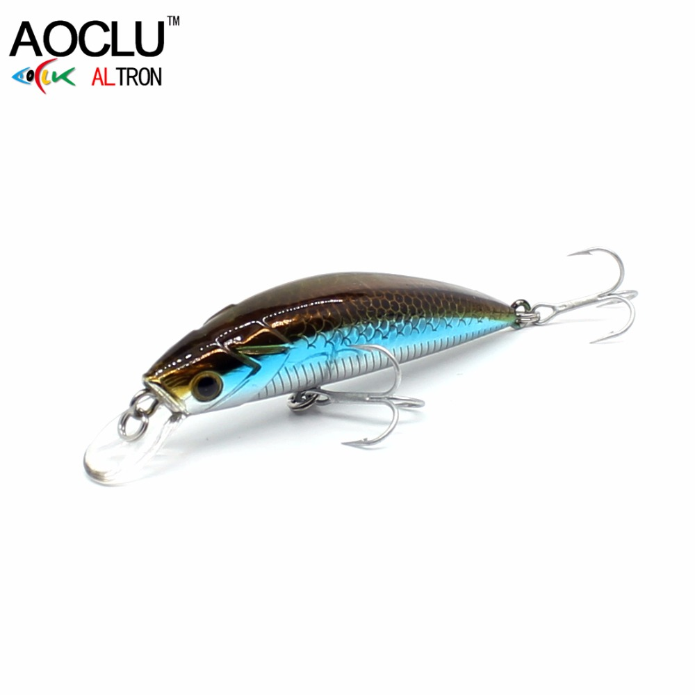 AOCLU wobblers Super Calidad 9 Colores 50mm Cebo Duro Minnow Manivela Popper Stik Señuelos de pesca Bass Fresh Salt water 12 # VMC hooks