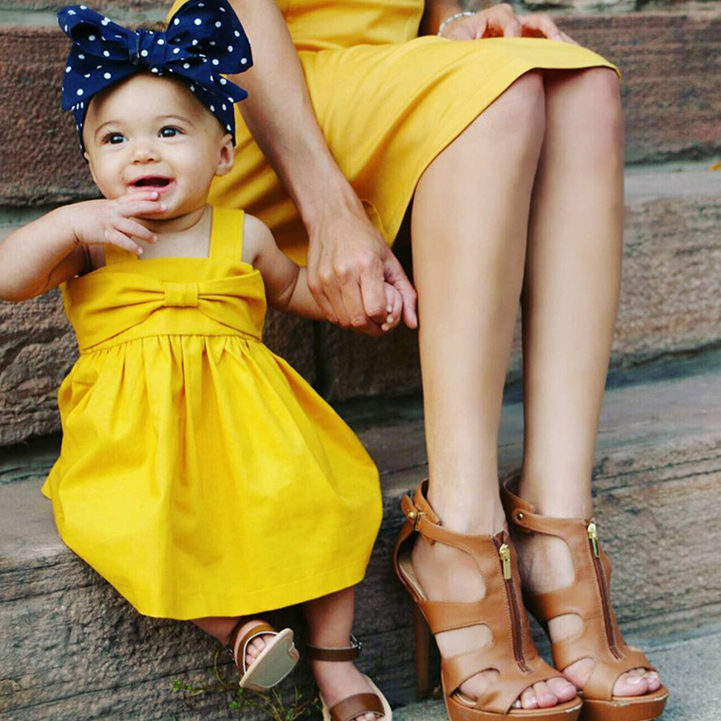 2017 Cute Baby Girl Dress Cotton Children Kids Baby Yellow Dresses One Piece Baby Summer Clothing For Party Wear Clothes Girl Y