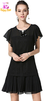 Chest 90 122 Cm Summer 2017 Black Women Chiffon Lace Dress Large Size Short Sleeve Elegant