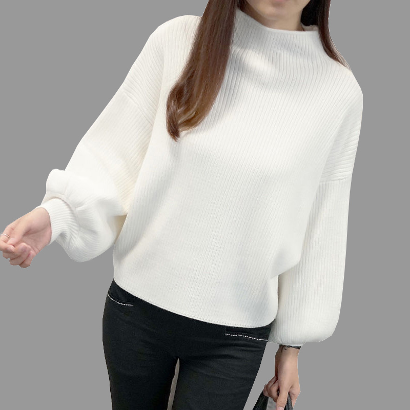Winter Women Sweaters Fashion red white Turtleneck lantern Sleeve Pullovers Loose Knitted Sweaters Female Jumper Tops 19 3