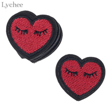7d96ee78ff2 Lychee 10pcs Embroidery Heart Eyelash Patches For Clothes