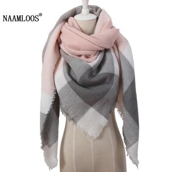 2019 triángulo de invierno para las mujeres de diseñador de marca de cachemir chal pañuelos Plaid manta cálida y suave Dropshipping. exclusivo. OL082