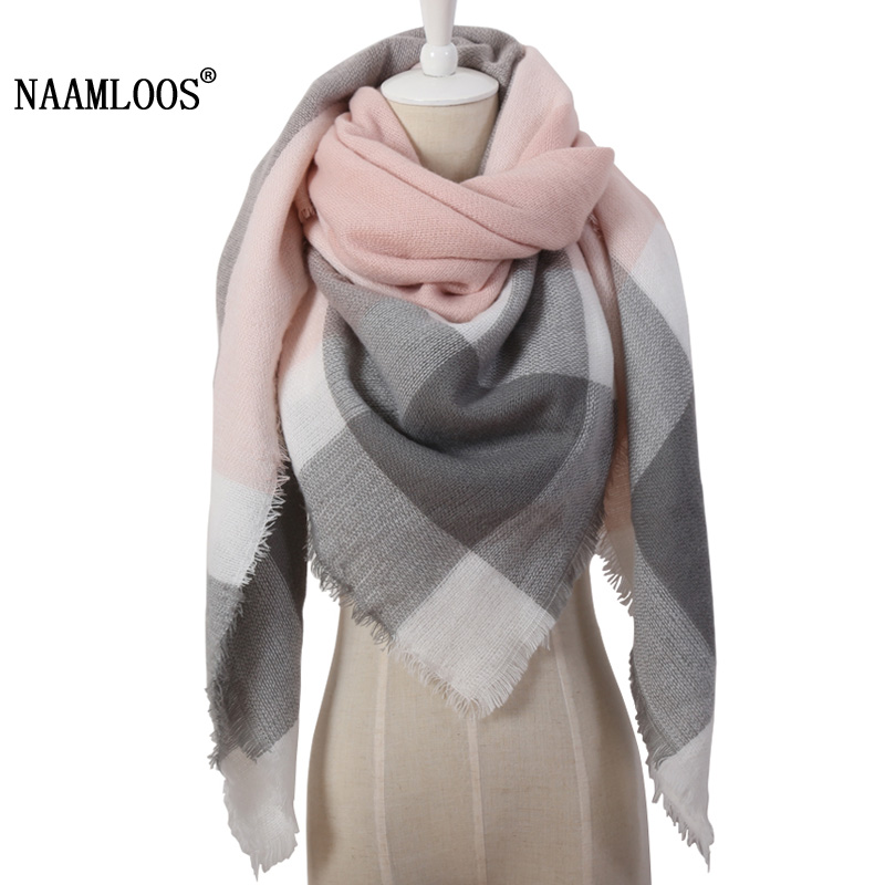 2019 Winter Triangle Scarf For Women Brand Designer Shawl Cashmere Plaid Scarves Blanket Warm and soft Dropshipping OL082(China)