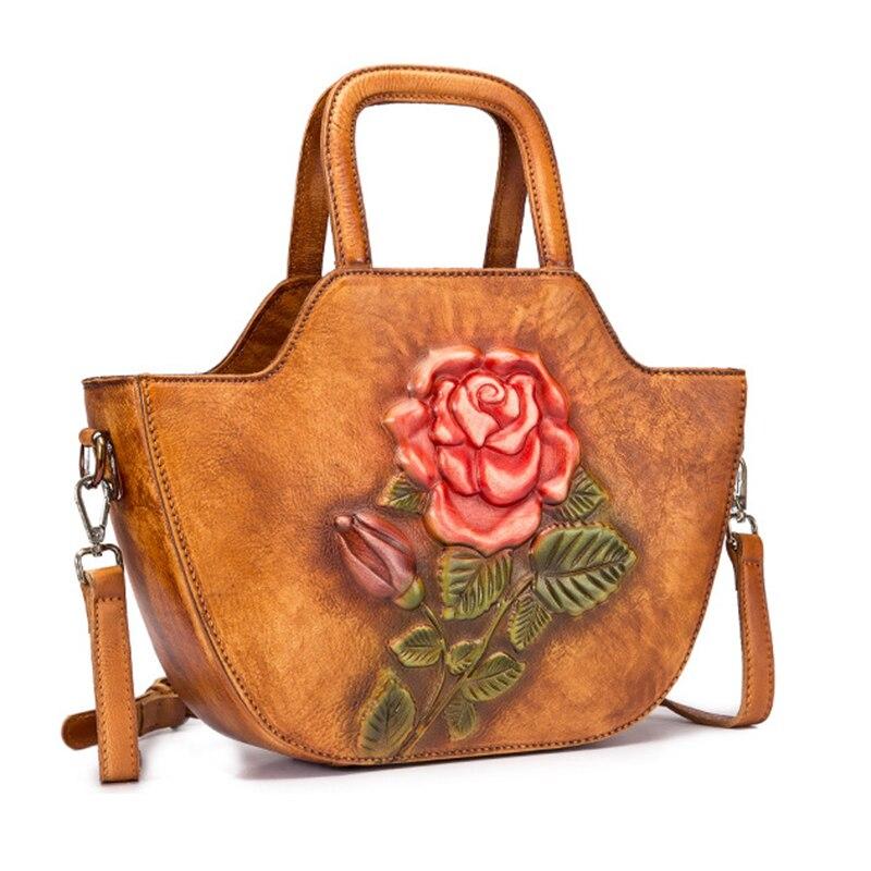 Bolso de cuero genuino bolso de mano de cuerpo cruzado Color brocha patrón de rosa de alta calidad mujeres hombro mensajero Top ASA bolsos-in Cubos from Maletas y bolsas    2