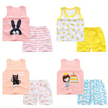 Summer (12-3Y) Children's Girls Sleeveless Cartoon Bunny Cat Banana Cake Print Kids Vest Top + Shorts Two-Piece Set roupa infant(China)