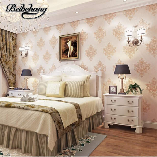 beibehang luxury continental gold flocking nonwoven wallpaper living room bedroom background wall restaurant wallpaper - Bedroom Background