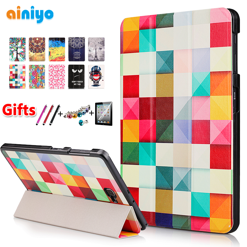High quality PU Case Cover for Samsung Galaxy Tab A6 10.1 2016 <font><b>T585</b></font> T580 SM-T580 T580N Case + Screen Protector gifts image
