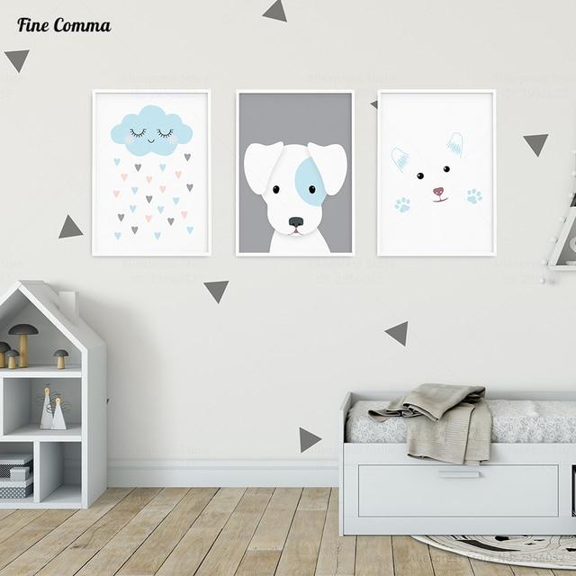 Niedlichen Hund Nordischen Stil Kinder Dekoration Jungen Mädchen  Kinderzimmer Poster Und Drucke Wand Bild Für Wohnzimmer