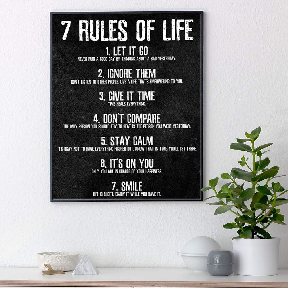 7 Rules Of Life Watch Your Thoughts Motivational Poster And Print Canvas Painting For Bedroom Classroom Home Office