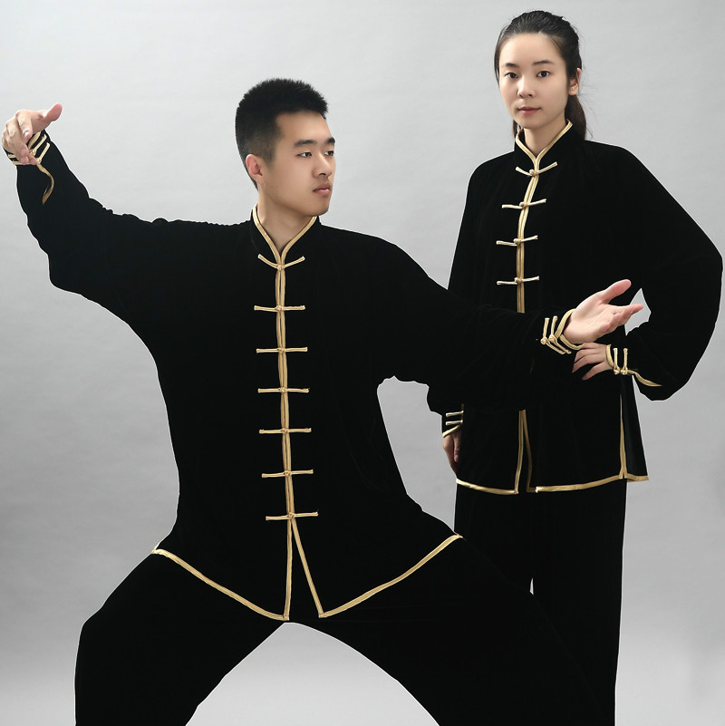 Velvet Winter Autumn Kung Fu Uniform Long Sleeve Wushu Competition Costume Martial Arts Suit Tai Chi Morning Exercise Cloth 90