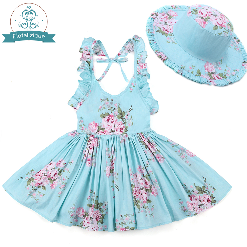 цена на Baby Girls Dress with Hat 2018 Brand Toddler Girl Summer Clothes Kids Beach Floral Print Ruffle Princess Party Dresses 1-8Y