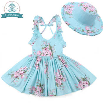 Baby Girls Dress with Hat 2018 Brand Toddler Girl Summer Clothes Kids Beach Floral Print Ruffle Princess Party Dresses 1-8Y - DISCOUNT ITEM  20% OFF All Category