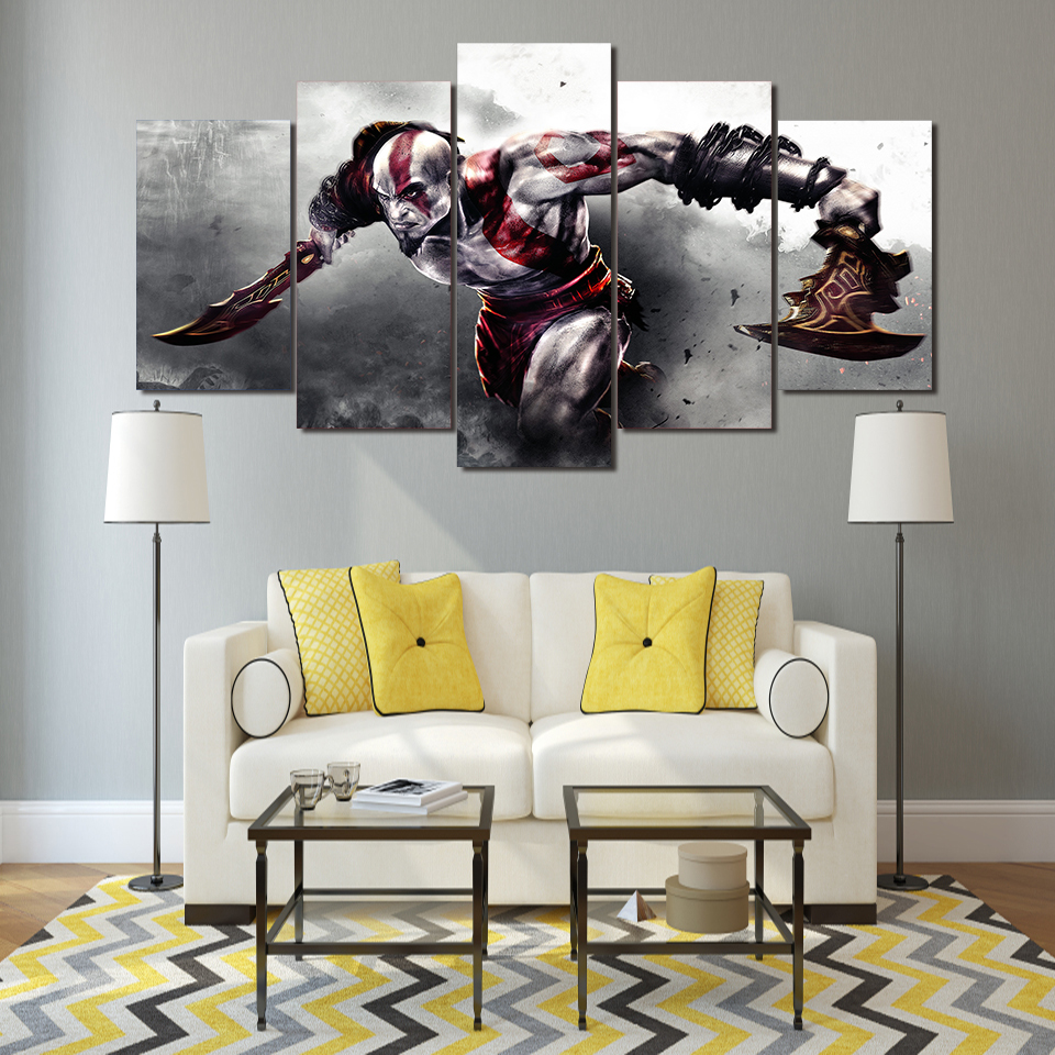 5 Pieces Modern Canvas HD Printed Pictures Frame Game God Of War Characters Painting Wall Art Abstract Poster Home Decor Prints