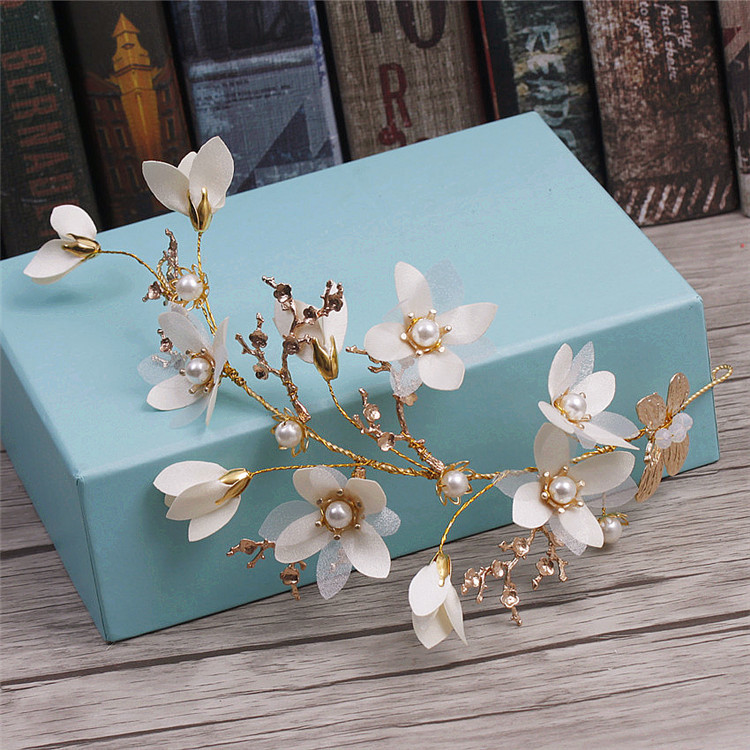 Korean golden white hair flower pearl women hair ornament bride wedding hair accessories wedding tiara цена