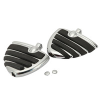 Ironwalls Chrome Black Motorcycle Foot Pegs Footpeg Pedal Motobike Foot Rests Skid Proof Rubber For Harley