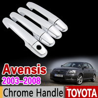 For Toyota Avensis 2003 2008 Chrome Door Handle Cover Trim Set T250 T25 2004 2005 2006