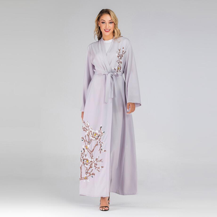 2019 femmes fleurs broderie Caftan dubaï Abaya Kimono Robe Robe musulmane Caftan Marocain Qatar turc vêtements islamiques a1220