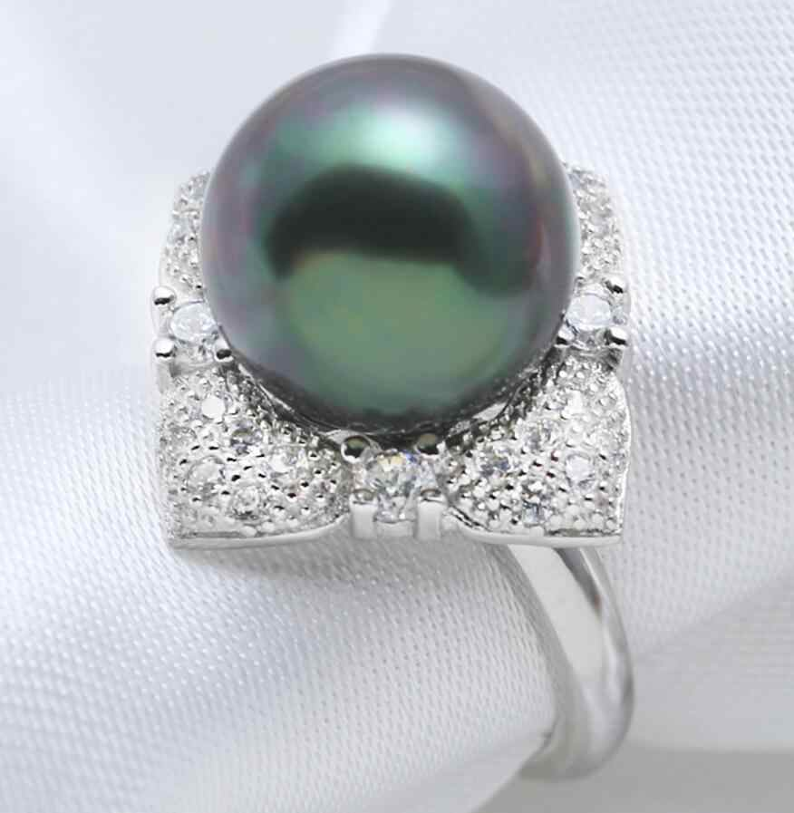 New 1107+++Black mother of shell pearl ring 12mm Malachite Green Noble Temperament